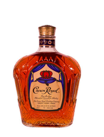 RIVER FALLS,WISCONSIN-JANUARY 21,2014: A bottle of Crown Royal whisky. Crown Royal is a blended Canadian whisky 40%, alcohol by volume,80 proof.