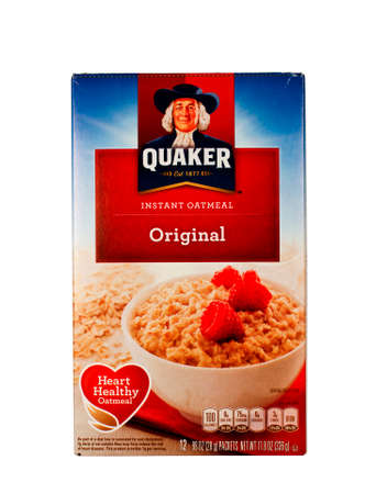 quaker: RIVER FALLS,WISCONSIN-JANUARY 21,2014: A box of Quacker instant oatmeal. Quaker Oats was founded in 1901. It has been owned by PepsiCo sine 2001.