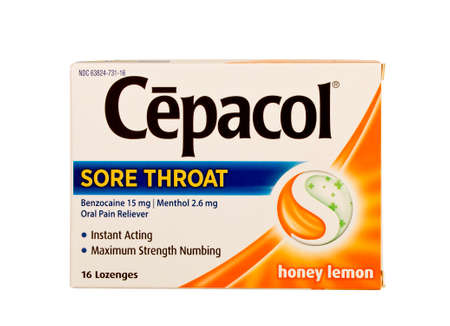 RIVER FALLS,WISCONSIN-JANUARY 23,2014: A box of Cepacol throat lozenges. Cepacol is a brand of products for relief of sore throats. Editorial