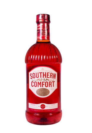 RIVER FALLS,WISCONSIN-JANUARY 23,2014: A bottle of Southern Comfort liqueur. Southern Comfort was created by Martin Wilkes Heron in New Orleans in 1874.
