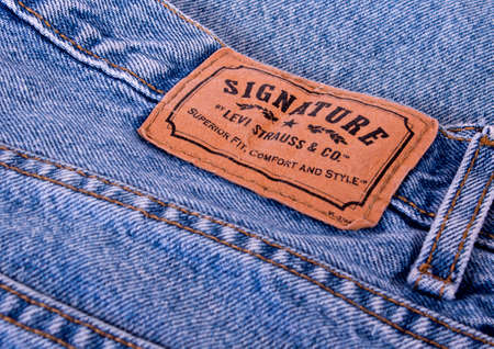 levi: RIVER FALLS,WISCONSIN-JANUARY24,2014: A pair of Levi Strauss Signature jeans. Levi Strauss and Company began in 1853 in San Fransico, California. Editorial