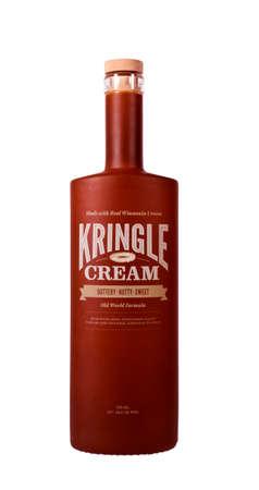 kringle: RIVER FALLS,WISCONSIN-JANUARY25,2014: A bottle Kringle Cream liqueur. Kringle Cream is a Wisconsin Cream liqueur with rum and natural Kringle flavor.