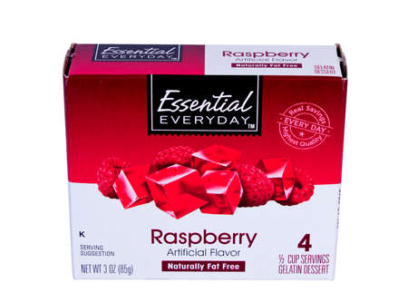 RIVER FALLS,WISCONSIN-JANUARY 30,2014: A box of Everyday Essential gelatin dessert.Everyday Essential is a generic store brand of SuperValu Inc. Minnesota.