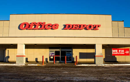 RIVER FALLS,WISCONSIN-FEBRUARY 02,2014: Office Depot storefront. Office Depot is a leading global provider of office related supplies and services.