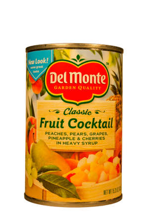 food distribution: RIVER FALLS,WISCONSIN-FEBRUARY 02,2014: A can of Del Monte fruit cocktail. Del Monte is an American food production and distribution company located in San Francisco, California. Editorial