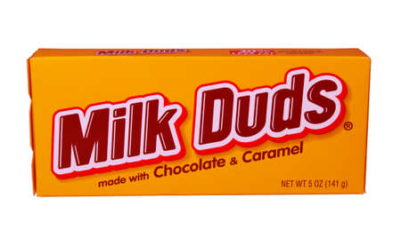 RIVER FALLS,WISCONSIN-FEBRUARY 04,2014: A box of Milk Duds candy. Milk Duds are manufactured by The Hershey Company and is headquartered in Hershey,Pennsylvania.