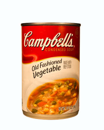 whose: RIVER FALLS,WISCONSIN-FEBRUARY 05,2014: A can of Campbells vegetable soup. Campbells is an American company whose products are sold in over 120 countries worldwide