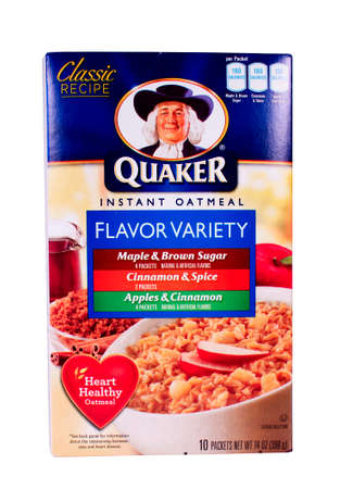 quaker: RIVER FALLS,WISCONSIN-FEBRUARY 11,2014: A variety box of Quaker instant Oatmeal. Quaker Oats is an American food company based in Chicago and owned by PepsiCo.