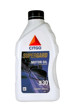 River Falls, Wisconsin-18 februari 2014: Een kwart van Citgo Motor Oil. Citgo is een Amerikaanse raffinaderij en leverancier van smeermiddelen en andere industriële producten. Redactioneel