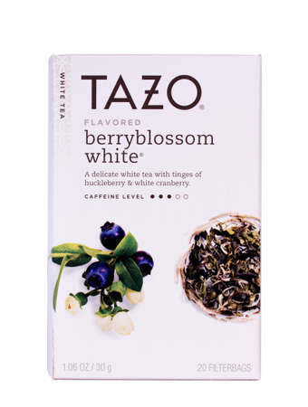 manufacturer: RIVER FALLS,WISCONSIN-FEBRUARY18 ,2014: A box of Tazo Berryblossom Tea. Tazo is a manufacturer of tea founded in Portland,Oregon and now a division of Starbucks. Editorial