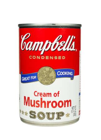 River Falls, Wisconsin-Februar 19,2014: Eine Dose Campbell Creme der Pilzsuppe. Campbell ist ein amerikanischer Hersteller von Dosensuppen und verwandten Produkten. Standard-Bild - 26021863