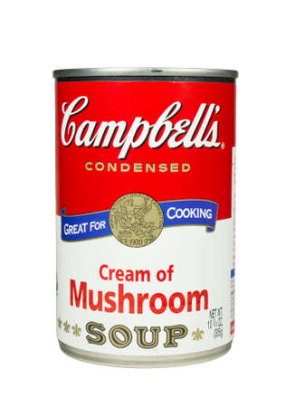 RIVER FALLS,WISCONSIN-FEBRUARY 19,2014: A can of Campbells Cream of Mushroom soup. Campbells is an American producer of canned soups and related products.