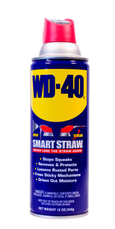 RIVER FALLS,WISCONSIN-FEBRUARY 21,2014: A can of WD-40. WD-40 was developed in 1953 by Doctor Norm Larsen of San Diego,California.