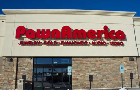 EAU CLAIRE,WISCONSIN-FEBRUARY 02,2014: Pawn America storefront in Eau Claire,Wisconsin on February 02, 2014.