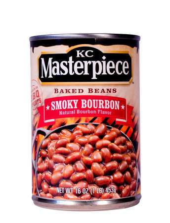 masterpiece: RIVER FALLS,WISCONSIN-FEBRUARY 22, 2014: A can of K C Masterpiece baked beans. K C Masterpiece is  made by HV Food Company a division of Clorox Company.