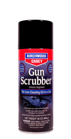 pressurized: RIVER FALLS,WISCONSIN-FEBRUARY 23,2014: A can of Birchwood Casey Gun Scrubber. Birchwood Casey produces a large line of shooting and gun care products. Editorial
