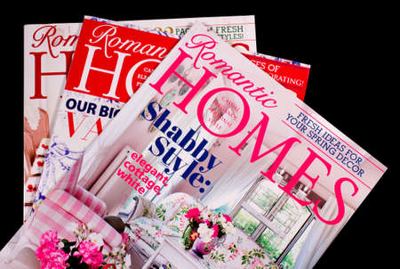 linda: RIVER FALLS,WISCONSIN-FEBRUARY 27, 2014: Several issues of Romantic Homes Magazine. Romantic Homes is publishes monthly by Beckett Media LLC. of Yorba Linda,California.