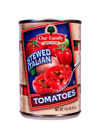 our: RIVER FALLS,WISCONSIN-MARCH 3 ,2014: A can of Our Family Stewed Tomatoes. Our Family brand is distributed by Nash Finch Company of Edina,Minnesota. Editorial