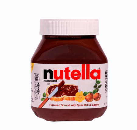 nutella: RIVER FALLS,WISCONSIN-MARCH 15, 2014: A jar of Nutella Hazelnut Spread. Nutella is distributed by Ferrero U.S.A. Inc. of Somerset,New Jersey.