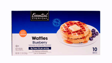RIVER FALLS,WISCONSIN-MARCH 17, 2014: a box of  Essential Everyday Blueberry Waffles. Essential Everyday is a product of SuperValu Inc. of Edan Prairie,Minnesota.
