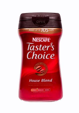 RIVER FALLS,WISCONSIN-MARCH 19, 2014: A jar of Nescafe Tasters Choice instant coffee. Nescafe is a brand of coffee made by Nestle S.A. of Switzerland.