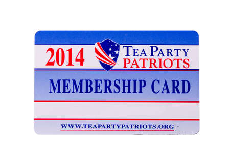conservative: RIVER FALLS,WISCONSIN-MARCH 23, 2014: A Twenty Fourteen Tea  Party membership card. The Tea Party is a conservative political party popular in the United States. Editorial