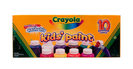 washable: RIVER FALLS,WISCONSIN-MARCH 25, 2014: A box of Crayola Washable Paints. Crayola is a brand of artist supplies manufactured by Crayola LLC of Pennsylvania.