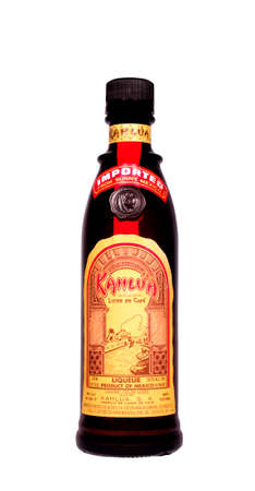 RIVER FALLS,WISCONSIN-MARCH 26, 2014: A bottle of Kahlua Mexican Liqueur. Kalua is a coffee-flavored liqueur based on rum from Mexico.
