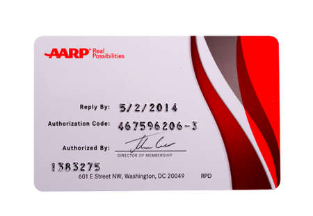 RIVER FALLS,WISCONSIN-APRIL 04, 2014: AARP Membersip application card. AARP operates as a non-profit advocate group for people fifty and over.