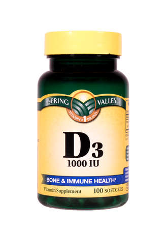 RIVER FALLS,WISCONSIN-APRIL 4,2014: A bottle of Spring Valley Vitamin D3. TRhis supplement is useful for strong bones and immune system health in humans.