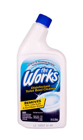RIVER FALLS,WISCONSIN-APRIL 14, 2014: A bottle of The Works toilet bowl cleaner. The Works is a product of HomeCare Labs of Lawrenceville,Georgia. Editöryel