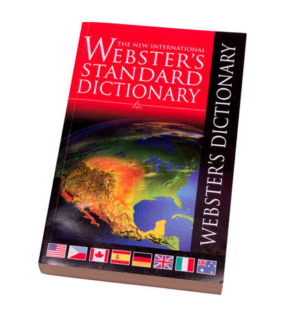 RIVER FALLS,WISCONSIN-APRIL17, 2014: A copy of Websters Standard Dictionary. Websters dictionaries have been published in various forms since Eighteen Twenty Eight.