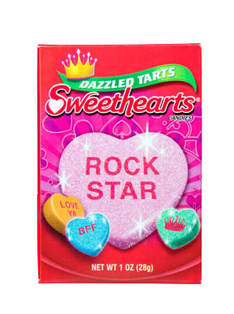 revere: RIVER FALLS,WISCONSIN-APRIL 24, 2014: A box of Sweethearts Candies. Sweethearts are made by New England Confectionery Company of Revere,Massachusetts.