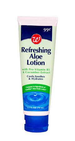RIVER FALLS,WISCONSIN-MAY 08, 2014: A tube of Walgreens brand aloe lotion. This lotion is distributed by The Walgreen Company of Deerfield,Illinois. Redakční