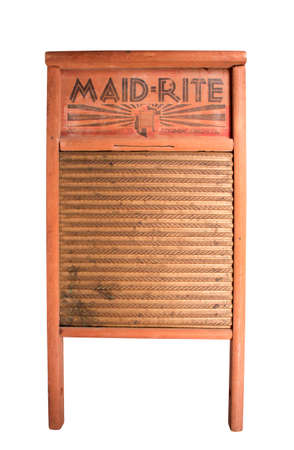 washboard: RIVER FALLS,WISCONSIN-MAY 12, 2014: A vintage Maid-Rite clothes washing board. This is a product of The Colmbus Washboard Company of Ohio.