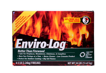 creosote: RIVER FALLS,WISCONSIN-MAY 15, 2014: A box of Enviro-Log wax and cardboard fire logs. This is a product of Enviro-Log Inc. of Fitzgerald,Georgia.