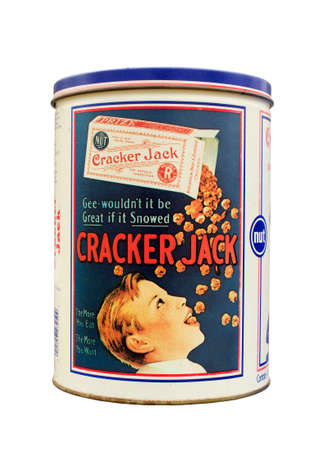 RIVER FALLS,WISCONSIN-MAY 17, 2014: A vintage Cracker Jack tin. The Cracker Jack brand is owned and marketed by Frito-Lay.