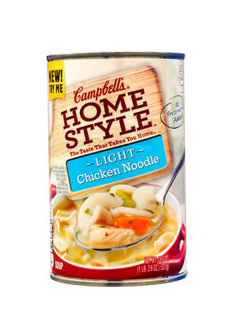 headquartered: RIVER FALLS,WISCONSIN-MAY 19, 2014: A can of Campbells Chicken Noodle Soup. Campbells Soup Company is headquartered in Camden,New Jersey.