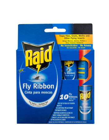 raid: RIVER FALLS,WISCONSIN-MAY 20, 2014: A package of Raid brand Fly Ribbons. Raid is produced by S.C.Johnson Company of Racine,Wisconsin.