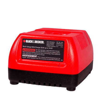 RIVER FALLS,WISCONSIN-MAY 23, 2014: A Black & Decker multi-voltage battery charger. Black & Decker is an American tool maker based in Towson,Maryland.