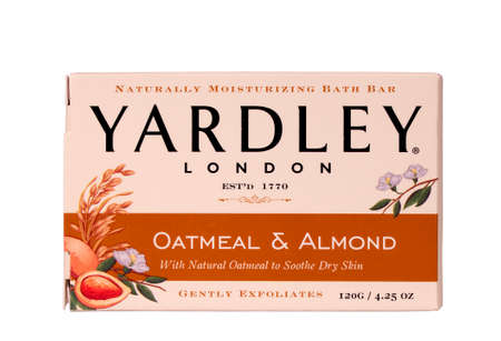 RIVER FALLS,WISCONSIN-JUNE 16,2014: A bar of Yardley Oatmeal and Almond soap. Yardley of London was founded in Seventeen Seventy making it one of the worlds oldest cosmetic companies.