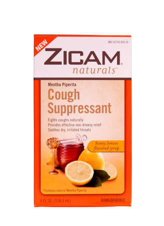 RIVER FALLS,WISCONSIN-JUNE 21,2014: A box of Zicam Cough Suppressant. Zicam is distributed by Matrixx Initiatives Inc. of Scottsdale,Arizona.