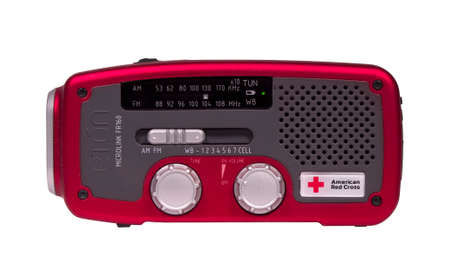 crank: RIVER FALLS,WISCONSIN-JULY 12,2014: An American Red Cross emergency weather radio. This device operates on batteries,solar,or crank.