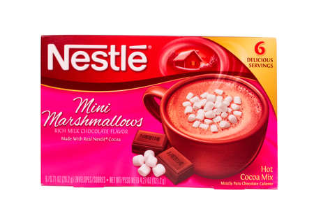 nestle: RIVER FALLS,WISCONSIN-JULY 12,2014: A box of Nestle Mini Marshmallow hot cocoa mix. Hot cocoa is a perfect treat on a cold Winter day.