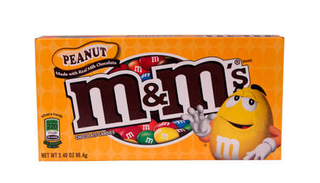 RIVER FALLS,WISCONSIN-JULY 16,2014:A box of Peanut M&Ms. This candy is distributed by Mars Snackfood LLC of Hackettstown,New Jersey.