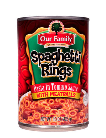distributed: RIVER FALLS,WISCONSIN-JULY 21,2014: A can of Our Family Spaghetti Rings with meatballs. This product is distributed by Nash Finch Company of Minneapolis,Minnesota.