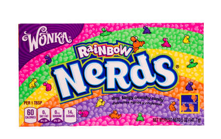 RIVER FALLS,WISCONSIN-JULY 23,2014: A box of Wonka Rainbow Nerds candy. This candy is a product of Nestle USA Inc. of Glendale,California.