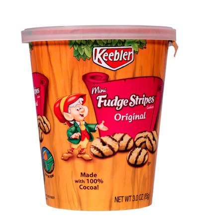 RIVER FALLS,WISCONSIN-JULY 25,2014: A cup of Keebler Mini Fudge Stripes Cookies. These cookies are distributed by Kelleogg Sales Company of Battle Creek,Michigan.