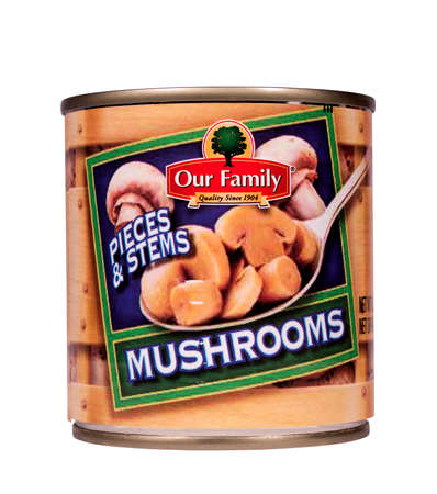 RIVER FALLS,WISCONSIN-JULY 25,2014: A can of Our Family brand mushroom stems and pieces. Our Family is a house brand of Nash Finch Company. Sajtókép