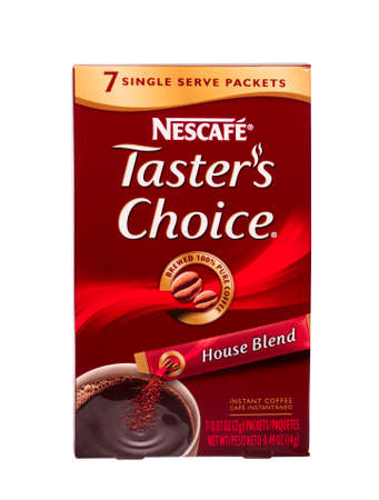 nestle: RIVER FALLS,WISCONSIN-JULY 29,2014: A box of Tasters Choice single serve coffee packets. Tasters choice is a product of Nestle USA Inc. Editorial